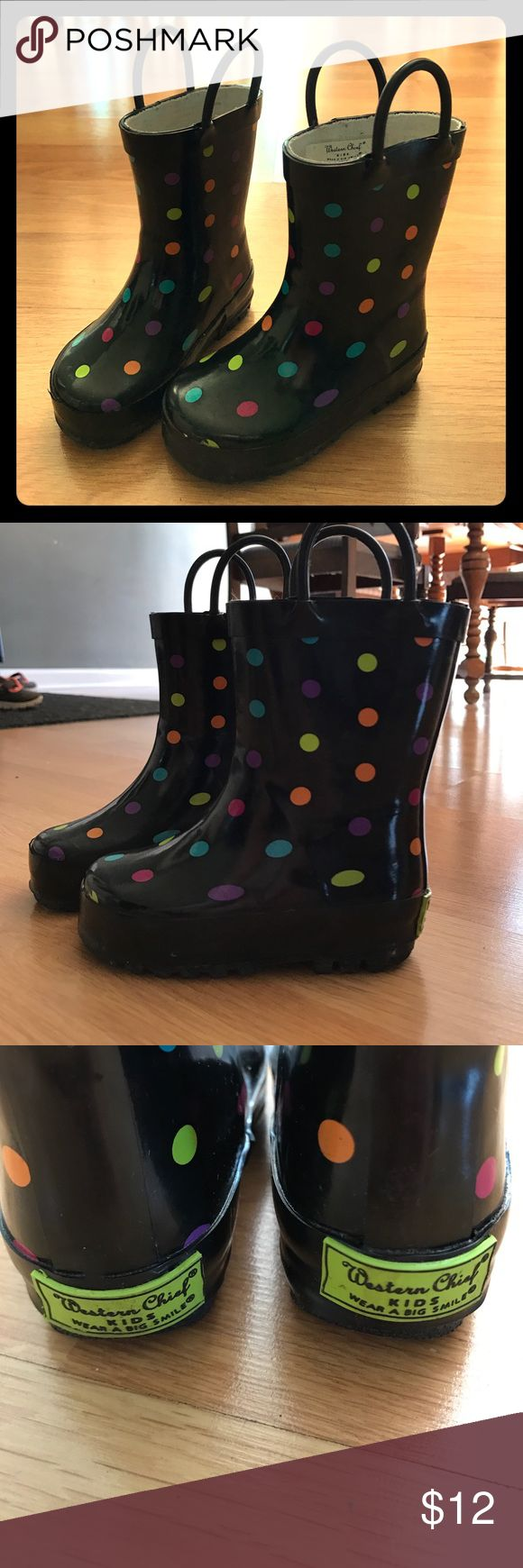 Western Chief Kids size 5/6 toddler rain boots! Size 5/6. Excellent used condition, worn about 3 times. Has multi color polka dots. These rain boots are perfect your little one! Easy to pull on too! Western Chief Brand size 5/6 toddler. Western Chief Shoes Rain & Snow Boots