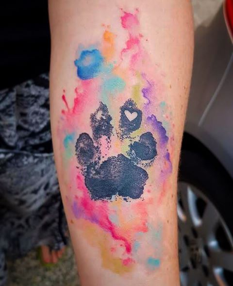 Got to do this #watercolour #pawprint of Sam's rescue dog for her! An awesome tattoo for an awesome person! ✨ #watercolor #watercolourtattoo #watercolortattoo #pawprinttattoo #rescuedog #brisbaneartist #brisbanetattoo #brisbane #brissy #swashdrive #sacredskin #texture #splash #femininetattoo #love