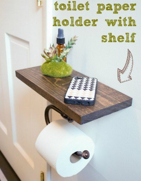 DIY Toilet Paper Holder With Shelf | Need bathroom shelf for your cellphone? Easily build an inexpensive and simple custom toilet paper holder with shelf.