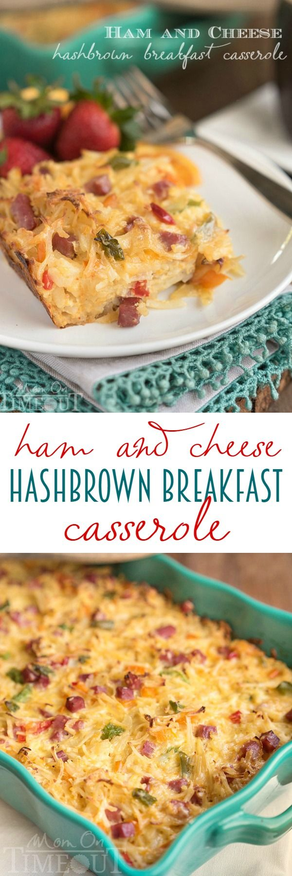 This Ham and Cheese Hash Brown Breakfast Casserole is the perfect way to use up leftover ham! Extra cheesy and delicious, this casserole takes just minutes to throw together and feeds a crowd! | MomOnTimeout.com: