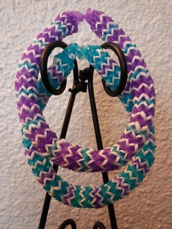 Hexafish Rainbow Loom Bracelets Blue Purple White 2 In