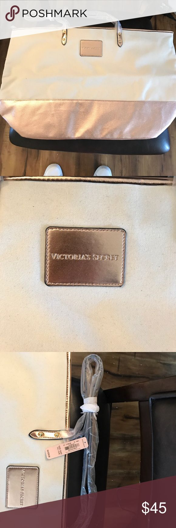 Victoria's Secret Tote Rose gold and off white Vickies Tote bag with size pink close and baby pink interior! Victoria's Secret Bags Totes