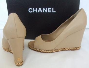New Chanel Beige - Outstanding Chain Wedge  Heels Shoes