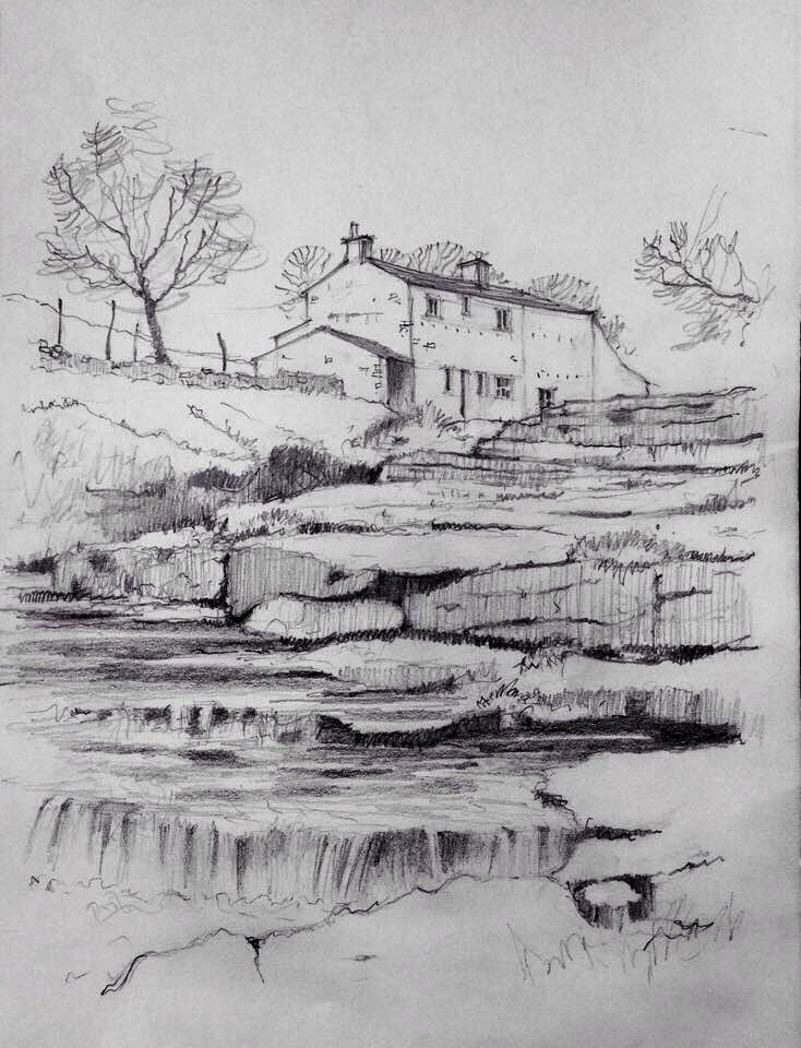Langstrothdale in the Yorkshire Dales ~ pencil sketch ~ John Edwards