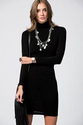 Siyah & Feminen Aşkı by PrettyMark - Siyah Balıkçı Yaka Elbise 1010763 sadece 49,99TL ile Trendyol da