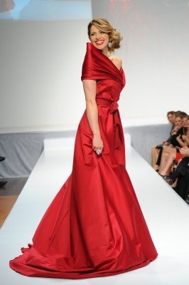 Actress Pascale Hutton, star of CBC's Arctic Air.    Pascale Hutton waering Paul Hardy, The Heart Truth Fashion Show 2012.
