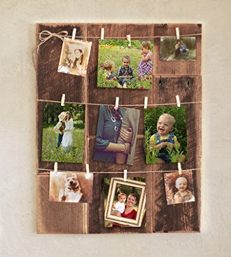 Clothespin photo collage on barn wood. Hang your own photo collage on this barn wood display. • The mini clothespins work best with 4x6 and 5x7 photos, but an 8x10 will fit just fine. • It's easy to clip and unclip your pics, so you can update your wall art frequently. • It would work well for notes or kids' art as well. • The item is designed to hang vertically. • All needed hanging hardware is included.