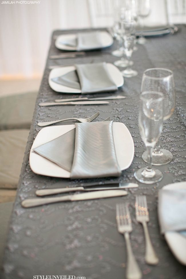 Grey and White Table Setting by J Morgan Flowers / Jamilah Photography / via StyleUnveiled.com