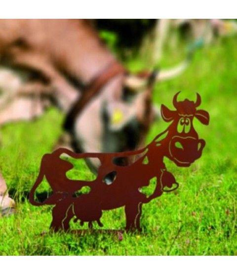 Ferrum Edelrost Kuh mit Glocke Liselotte Bauernhof Stall Metall Tiere Rost Eisen  - 2-flowerpower