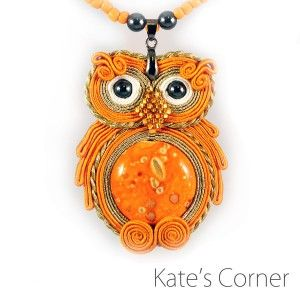 Orange owl - soutache
