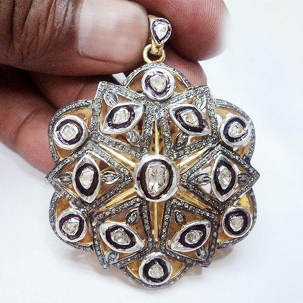 Appealing Polki Diamond Silver Pendant