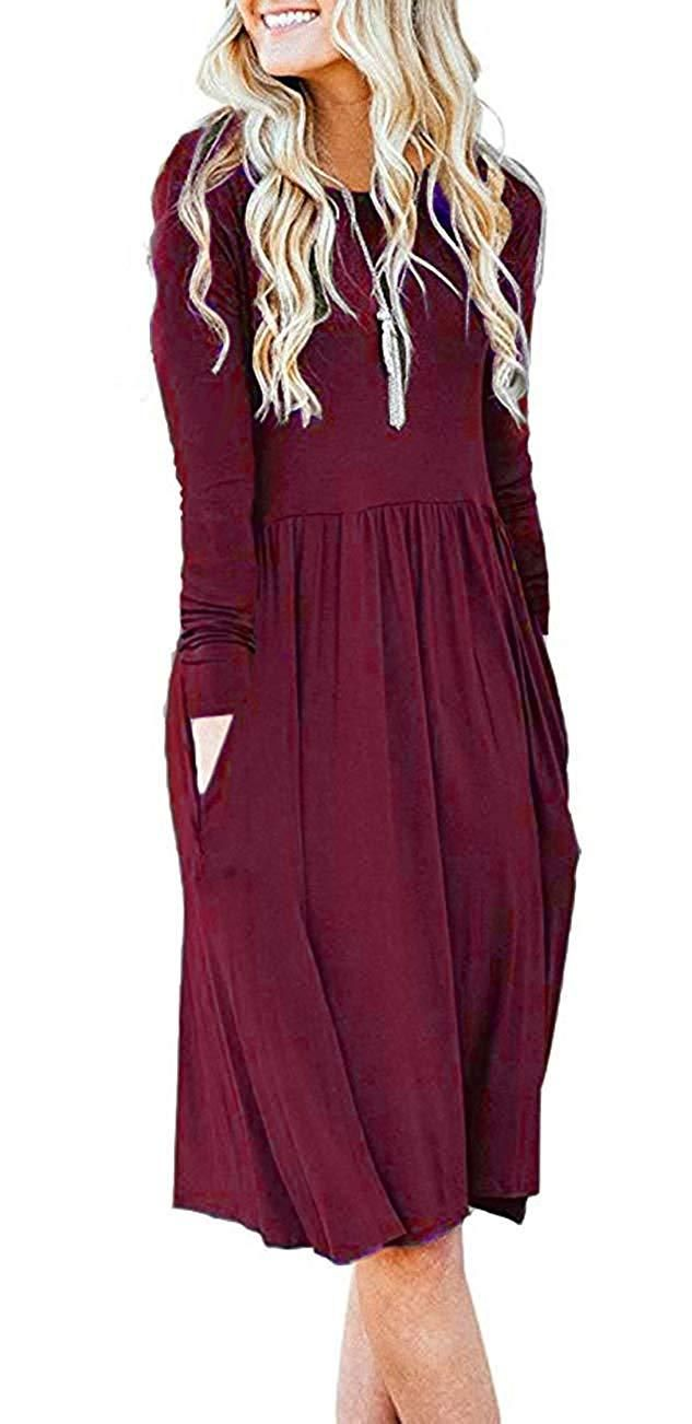 58b0793b398 AUSELILY Women's Long Sleeve Pockets Empire Waist Pleated Loose Swing Casual  Flare Dress