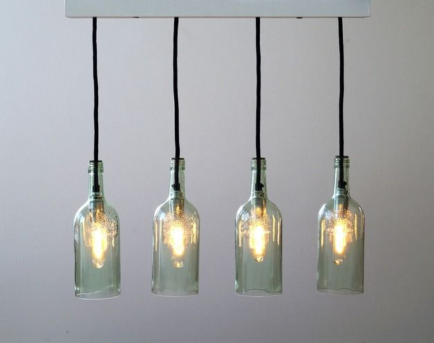 Vier-teilige Hängelampe aus Glasflaschen im Industrie Look, Flaschenlampe im Vintage Style / four-piece drop light made out of glas bottles in industrial look, bottle lamp in vintage style by Uniikat-Shop via DaWanda.com