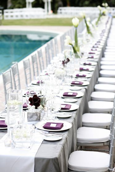 Table Decor | White on grey Table Cloths (Satin/round) $20 per (for rent) | Table Runner $17.50 per (for rent) **Any colour available