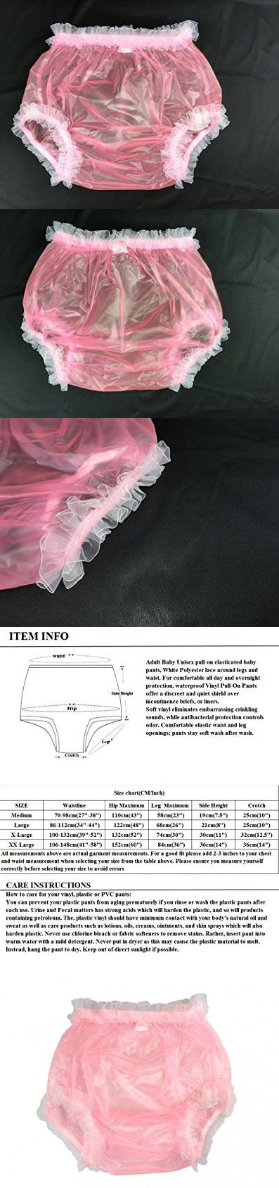 Haian Adult Incontinence Pull-on Plastic Pants Lace Panties Color Transparent Pink With White Lace (Medium)