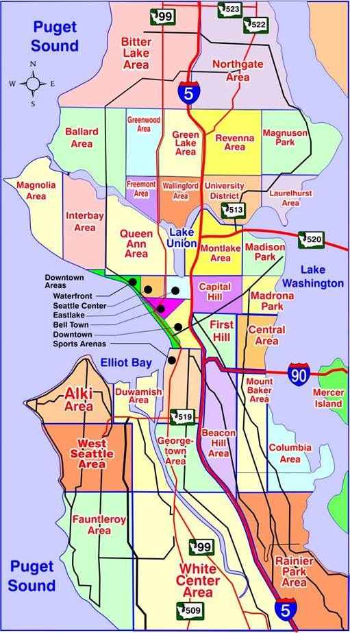 Seattle Map Wa.Map Of Seattle Washington Neighborhoods Many Of Our Neighborhoods