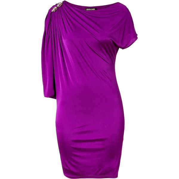 ROBERTO CAVALLI Purple Draped Sleeve Dress with Brooch ($450) ❤ liked on Polyvore featuring dresses, cocktail dresses, cocktail draped dress, purple evening dress, roberto cavalli dresses and holiday dresses