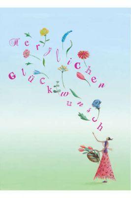 Postkarte Herzlichen Glückwunsch Blumen