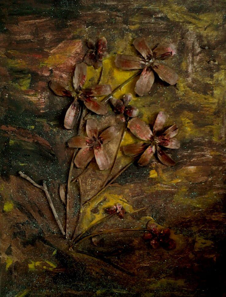 Bloemen maken van de schubben van een dennenappel op canvas