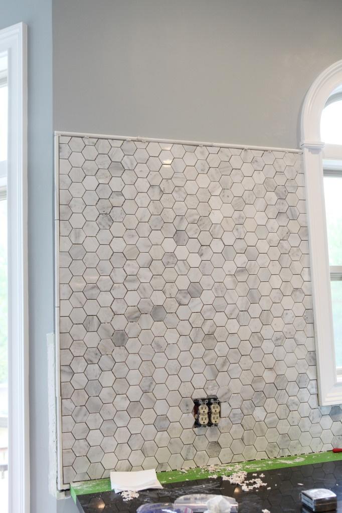 marble hex backsplash in kitchen home pinterest