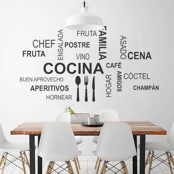 Vinilo decorativo ideal para un comedor con palabras básicas ...