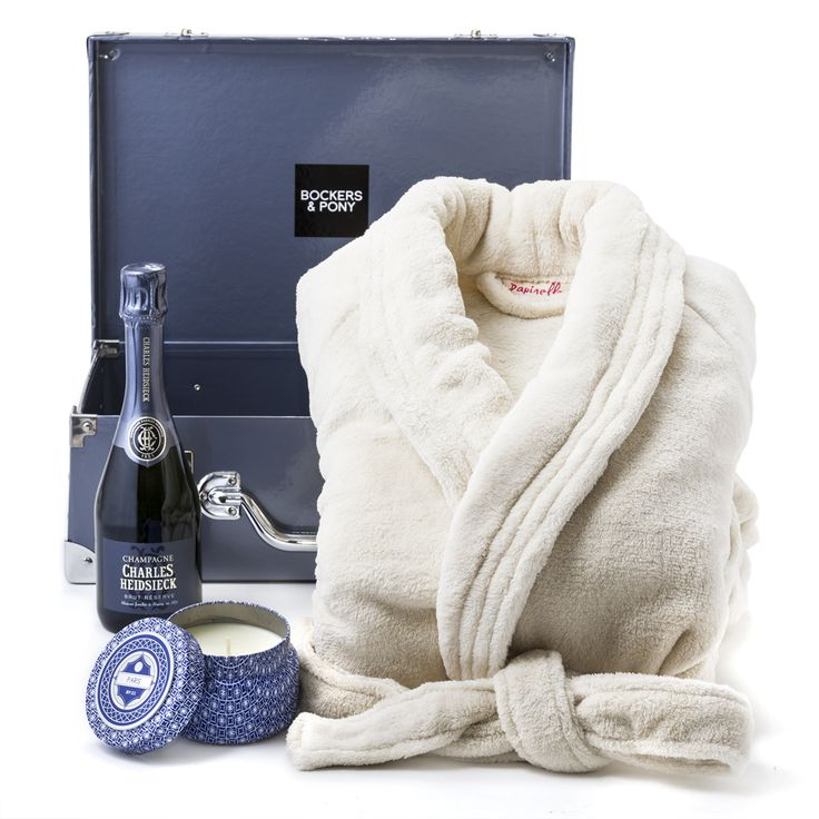 Happiness | Gift for Her with a Papinelle Robe, Candle and French Champagne  A cuddly soft Papinelle robe is teamed up with french champagne and a divine candle from Capri Blue called Paris. Notes of white tea, ginger, violets and vanilla will fill the room. This gift is perfect for anniversaries, birthdays, get well soon or Valentine's Day