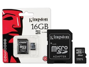 Picture of Cartao De Memoria Classe 4 Kingston Sdc4/16gb Micro Sdhc 16gb Com Adaptador Sd C