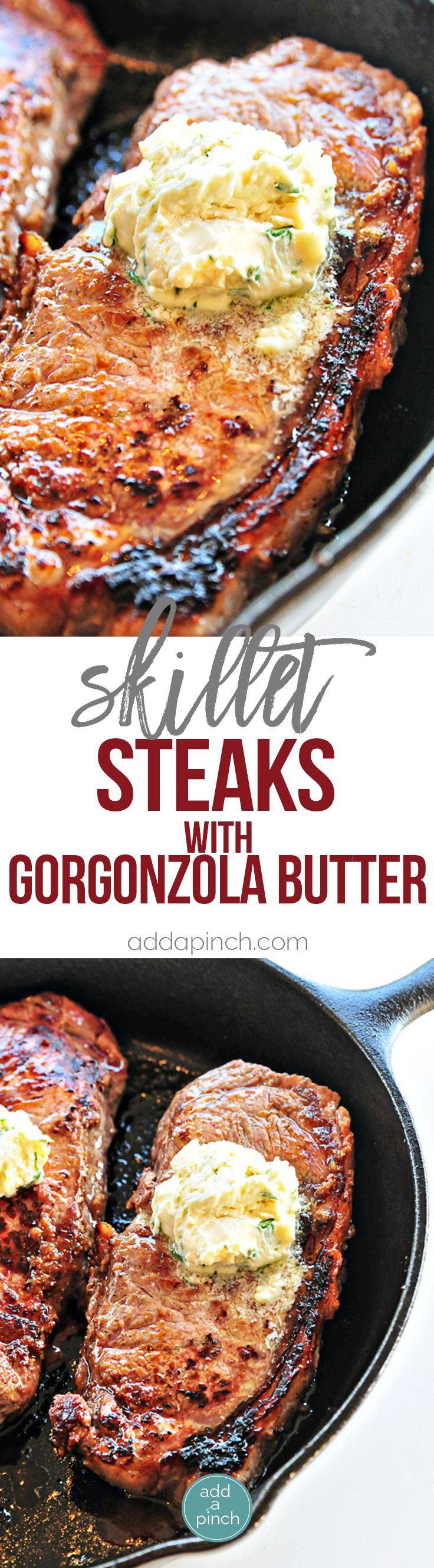 Skillet Steak with Gorgonzola Herbed Butter Recipe - Make a restaurant quality steak at home using these helpful tips and recipe! // addapinch.com