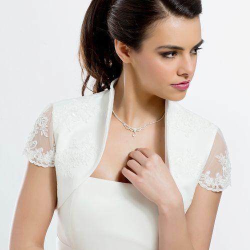 Braut Bolero Kurzarm Satin mit Spitze (creme)