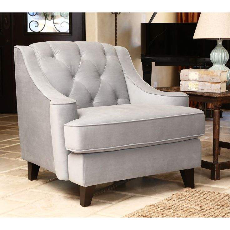 best living room chair%0A Abbyson Living Claridge Steel Blue Velvet Fabric Tufted Armchair   Overstock    Shopping  Great Deals on Abbyson Living Living Room Chairs