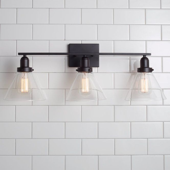 Industrial Triangle Shade Bath Light 3 Light Black Bathroom