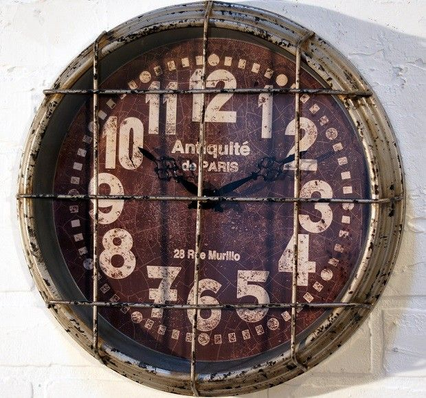 Distressed Caged Metal Gym Clock