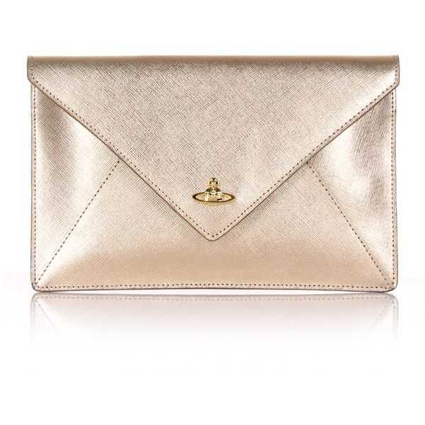Vivienne Westwood Pouch 7040 Envelope Clutch (£150) ❤ liked on Polyvore featuring bags, handbags, clutches, vivienne westwood, vivienne westwood pouch, pink clutches, gold metallic purse and envelope clutch bags