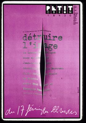 """Petit Odeon, 80/81 season ... In co-directing with the French Comedy.  """"Destroy the image"""" of Doutreligne Louise, directed by Jean-Louis Jacopin ... From 17 February to 22 March."""