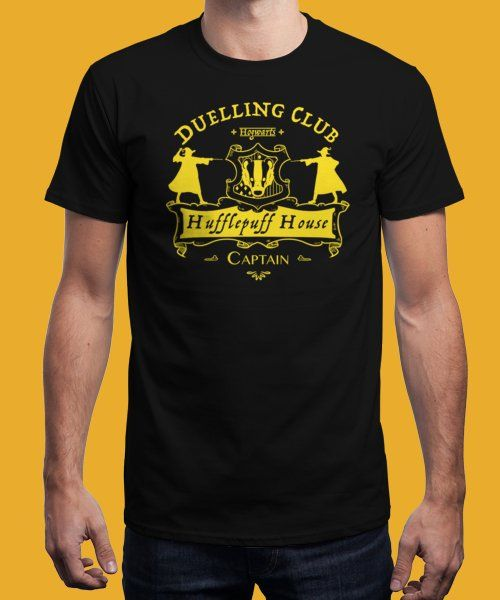 """Hufflepuff Dueling Club"" is today's £8/€10/$12 tee for 24 hours only on www.Qwertee.com Pin this for a chance to win a FREE TEE this weekend. Follow us on pinterest.com/qwertee for a second! Thanks:)"