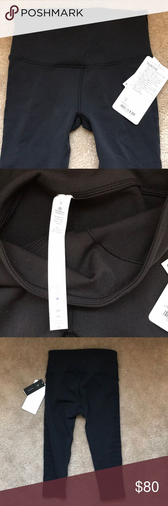 """NWT Lululemon Reveal Crop Stripes 15"""" Black Size 6 From website: Designed with built-in open-hole mesh construction to keep you cool, yet covered, during your studio workouts. Made with fabric that is four-way stretch. Designed for yoga, seamless construction reduces chafing, hidden pocket to stash your cards and keys, medium rise. Inseam is 17"""" lululemon athletica Pants Ankle & Cropped"""