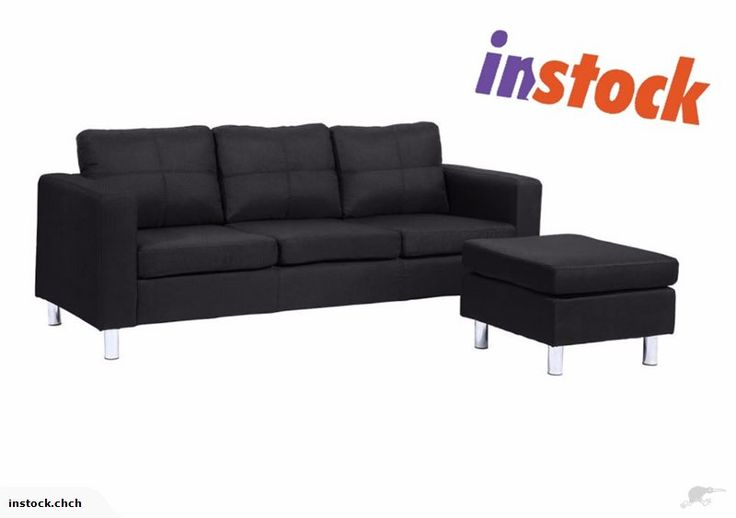 Couch / Sofa with Footstool - 3 seater  ____________________________    Details:  Surface material: 100% Polyester fabric  Colour: Black  Overall size: (WDH) 19...