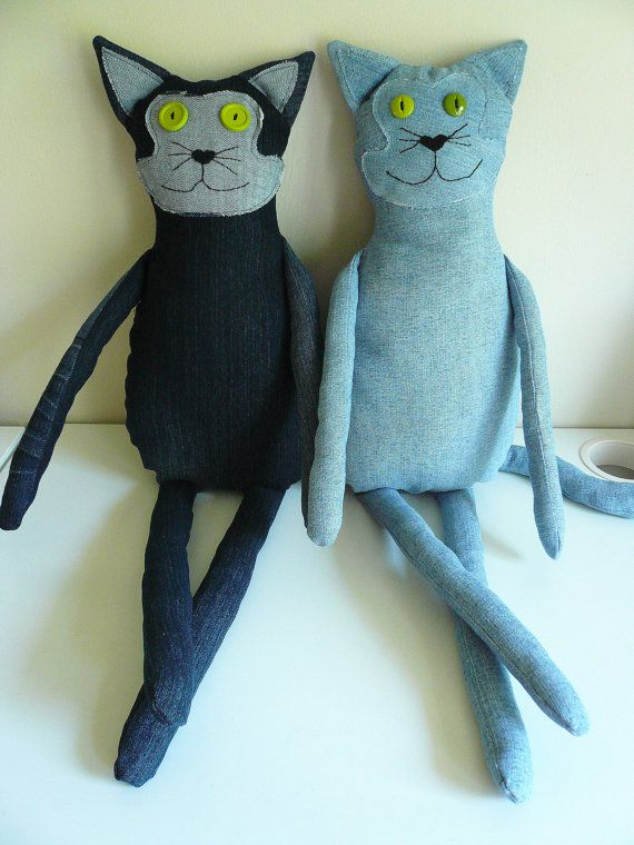 PDF Sewing Pattern Tutorial Large Upcycled Denim Stuffed Animal Cat Plush Repurposed on Etsy, $6.00