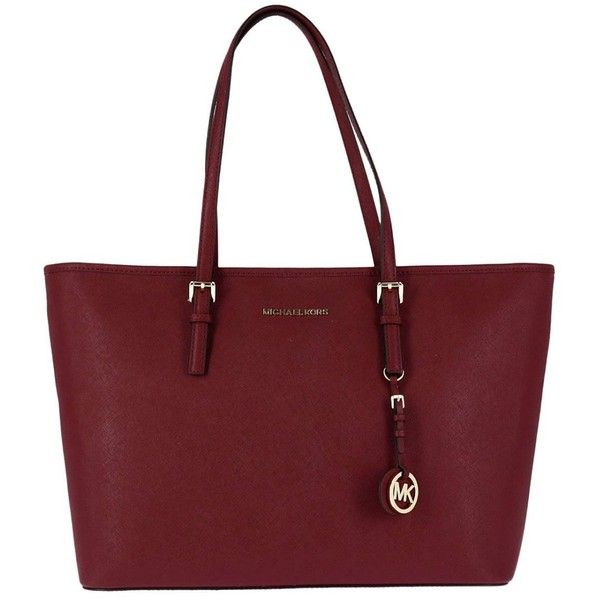 Shoulder Bag Large Jet Set Travel Tote Bag in Saffiano Leather (€266) ❤ liked on Polyvore featuring bags, handbags, tote bags, wine, handbags totes, travel tote, travel tote bags, wine tote purse and red handbags