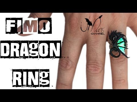 Polymer clay tutorial - How to make a dragon on ring - DIY