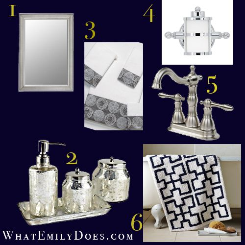 Navy blue and white bathroom guest bath kinda loving for Navy and white bathroom accessories