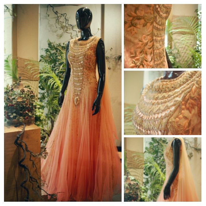 This ethereal #Ikhaflowygown is a complete stunner for a perfect #ikhadestinationwedding. The soothing #ikhapeach colour net fabric has beautiful resham embroidery,#ikhamirrorwork and #ikhastonework done on it with a little doze of glitter.The trail dropping from one shoulder adds extra drama to it....