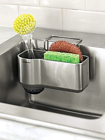 Sink Caddy best thing to have in kitchen, small bottle of dish washing soap fits in where the brush is.....