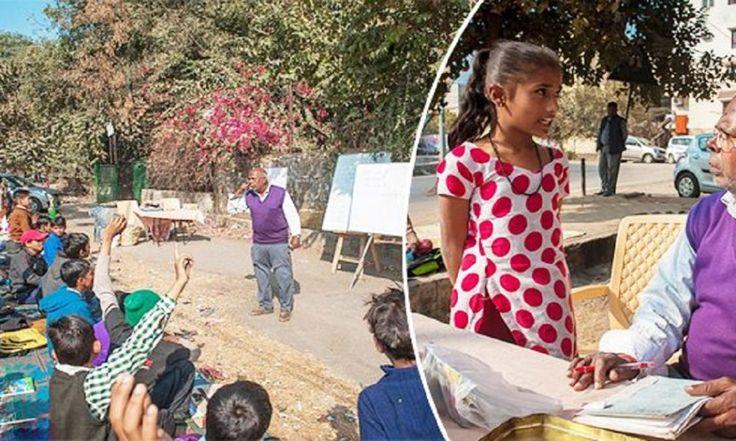 Συνταξιούχος στην Ινδία έχει φτιάξει υπαίθριο σχολείο και αλλάζει τις ζωές των φτωχών παιδιών που ζουν στους δρόμους