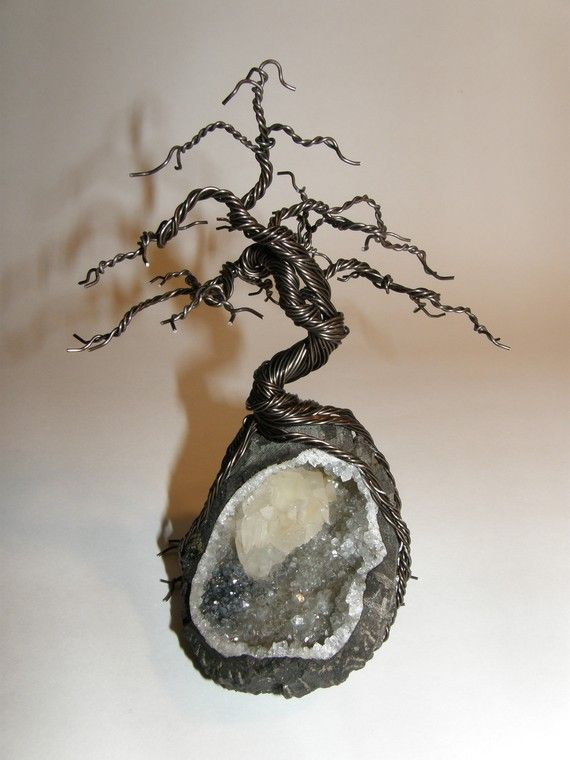 Black Pine bonsai wire tree on geode from KallistoTrees on Etsy $95  #art #sculpture #crystal #rock