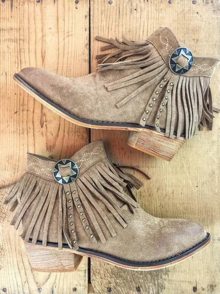 Fabulous fringe!  A little bit western, a lotta bit cute!  Concho Fringe Booties. Copper. Red. Rust. Tan. Brown. Boutique style. Western fashion. therollinj.com