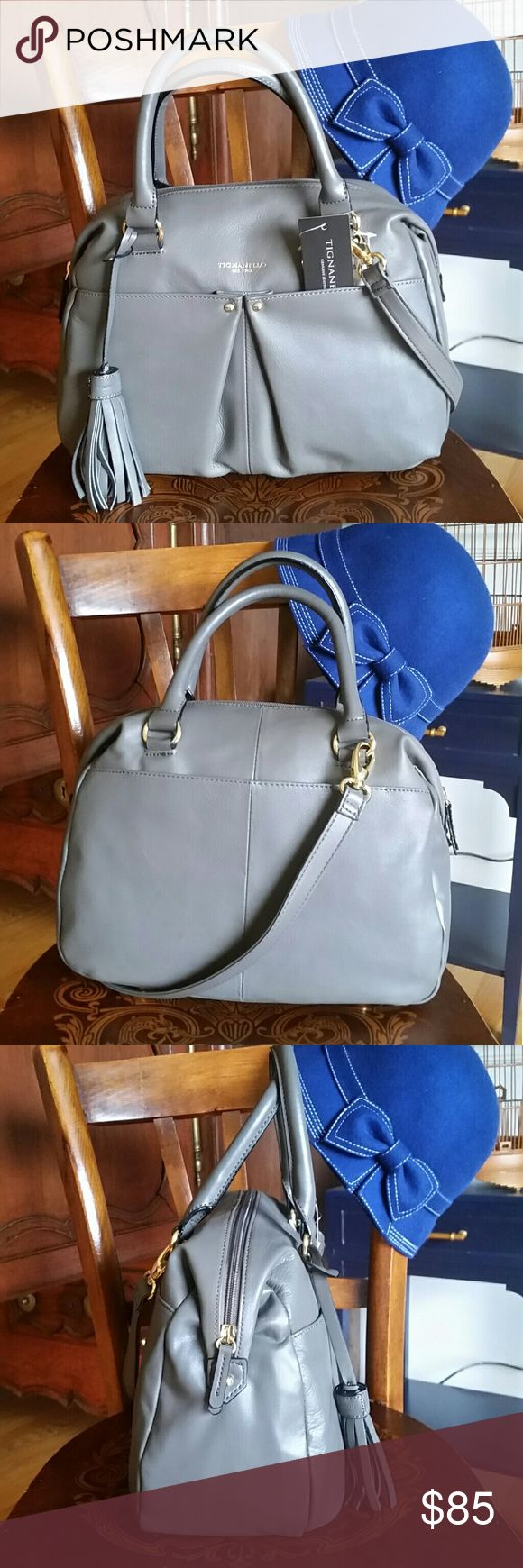 Tignanello gray handbag, SO CUTE, NWT!!! This beautiful girl is even better in person. Perfect size and really beautiful. Tignanello Bags Shoulder Bags