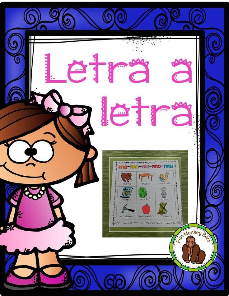 De una en una se trabajan todas las letras del abecedario con palabras en español. Leer, pintar, recortar y pegar!