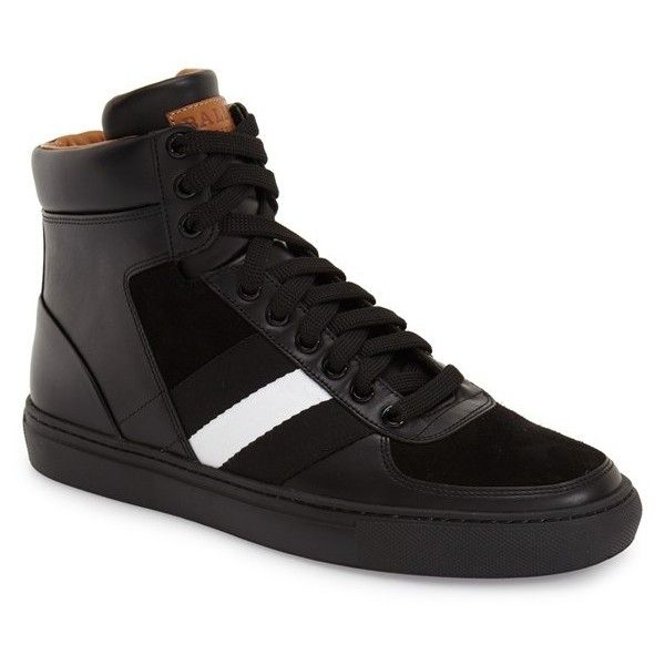 Bally 'Hewie' High-Top Sneaker (1.616.985 COP) ❤ liked on Polyvore featuring men's fashion, men's shoes, men's sneakers, black leather, mens hi top sneakers, mens black leather sneakers, mens black high tops, mens black hi top sneakers and mens sneakers