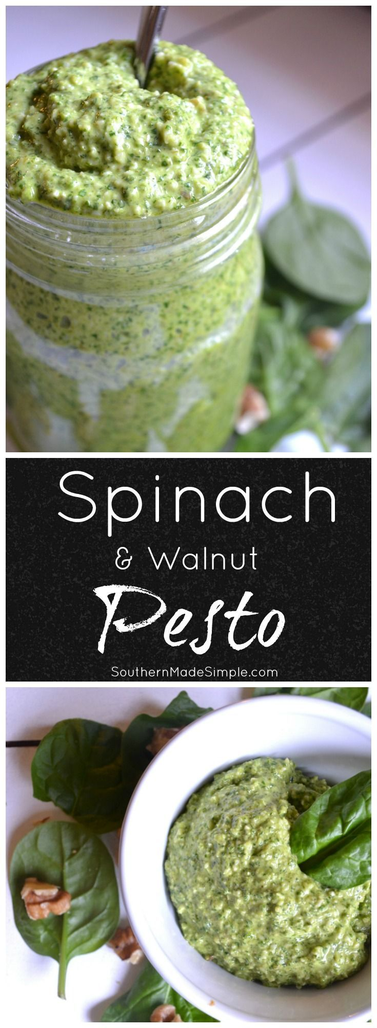 Have some extra spinach that needs using up? Whip up a batch of this creamy and delicious Spinach and walnut pesto in just minutes!